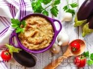 Рецепта Домашно кьопоолу от печен син домат (патладжан) с майонеза, лимонов сок и чесън